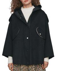 Maje Gangzou Wool - Blend Hooded Coat - Black