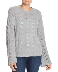 Aqua Cashmere Bell - Sleeve Pointelle Cashmere Sweater - Gray