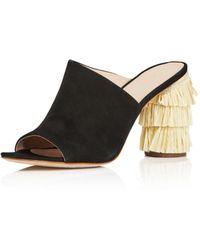 Pour La Victoire - Women's Hettie Nubuck Leather & Raffia High-heel Slide Sandals - Lyst