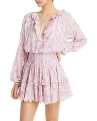 Hemant & Nandita Tiered Eyelet Mini Dress - Purple