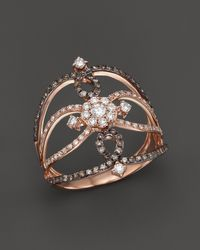 KC Designs - Champagne And White Diamond Ring In 14k Rose Gold - Lyst