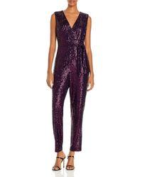 MILLY Metallic Micro - Stretch Jumpsuit - Purple
