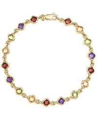 Bloomingdale's - Multi Gemstone Small Clover Bracelet In 14k Yellow Gold - Lyst