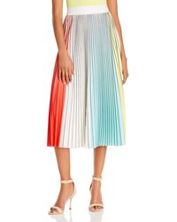 Alice + Olivia Arden Pleated Midi Skirt - Multicolor