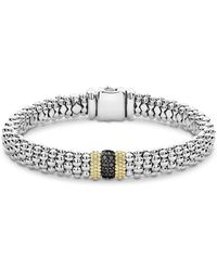 Lagos - 18k Yellow Gold & Sterling Silver Diamond Lux Black Diamond Rope Bracelet - Lyst