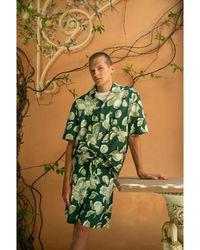 President's Rangi Over Lemon Print Relaxed Fit Camp Shirt - Green