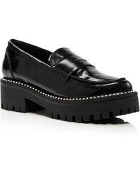 Aqua Women's Bela Studded Platform Loafers - Black