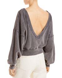 Free People Take Me Back Cotton Cropped Sweatshirt - Black