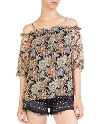 The Kooples - Wanted Cold-shoulder Floral Top - Lyst