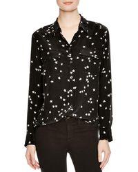 Equipment Slim Signature Lightning-print Silk Shirt - Black
