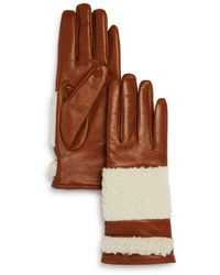 Bloomingdale's Shearling Trim Leather Gloves - Brown