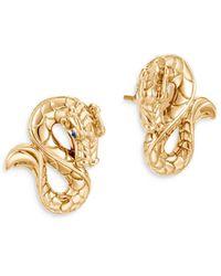 John Hardy 18k Yellow Gold Legends Naga Blue Sapphire Dragon Stud Earrings - Metallic