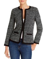 Paule Ka Leather Trim Tweed Jacket - Black
