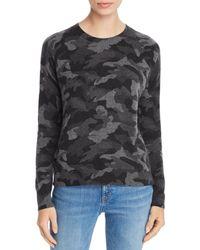 Aqua Cashmere Camo Crewneck Cashmere Sweater - Black