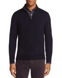 Bloomingdale's Quarter - Zip Merino Sweater - Blue