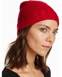 C By Bloomingdale's Waffle Knit Cashmere Hat - Red