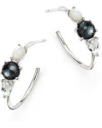 Ippolita - Hematite Doublet And Clear Quartz Hoop Earrings - Lyst