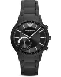 Emporio Armani - Men's Renato Black Stainless Steel Bracelet Smart Watch 43mm Art3001 - Lyst