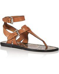 Sigerson Morrison Women's Nolan T - Strap Sandals - Brown