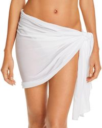 Aqua Swim Short Sarong Skirt Swim Cover - Up - White