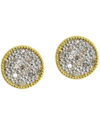 Aqua Circle Stud Earrings In 18k Gold - Plated Sterling Silver Or Sterling Silver - Metallic