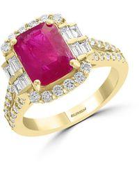 Bloomingdale's Ruby & Diamond Statement Ring In 18k Yellow Gold - Metallic