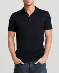 John Varvatos Silk & Cotton Slim Fit Polo Shirt - Black