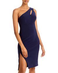 Aqua One Shoulder Keyhole Cocktail Dress - Blue