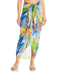 Echo Cutout Floral Pareo Swim Cover - Up - Blue