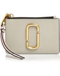 Marc Jacobs Top Zip Leather Multi Card Case - Metallic