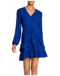1.STATE Tiered Ruffle Wrap Dress - Blue