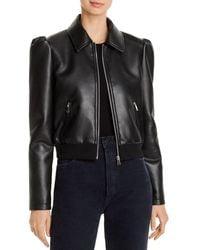 Aqua Faux - Leather Puff - Sleeve Jacket - Black