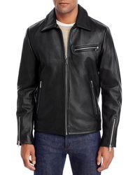 Karl Lagerfeld Leather Motocross Jacket - Black