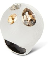 Alexis Bittar Crystal Studded Bubble Ring, Size 7 And 8, Silver - Metallic