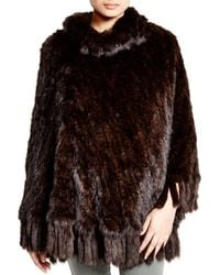 Maximilian Maximilian Knitted Sable Poncho With Fringe Trim - Brown