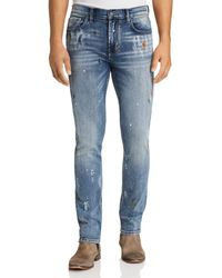 Blank NYC Blankn Horatio Splatter Paint Skinny Fit Jeans In Oh Behave - Blue