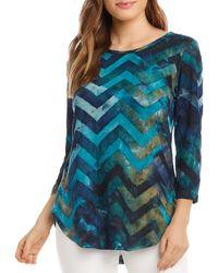 Karen Kane Tie - Dyed Burnout Shirt - Blue