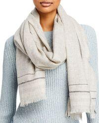 Aqua Fraas Striped Border Wool Scarf - Gray