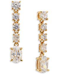 Nadri Colette Line Drop Earrings - Metallic