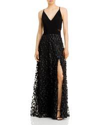 Aqua Floral Applique Gown - Black