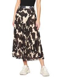 Sanctuary Pleated Pony Print Midi Skirt - Black