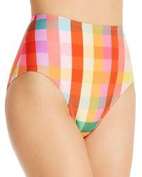 Kate Spade Printed High - Waist Bikini Bottom - Orange