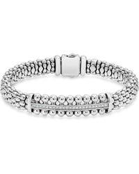 Lagos - Sterling Silver Caviar Spark Diamond Bar Bracelet - Lyst