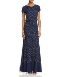 Adrianna Papell Beaded Blouson Gown - Blue