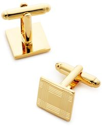 Bloomingdale's Brass Check Square Cufflinks - Metallic