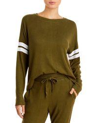 Aqua Athletic Stripe Sleeve Knit Sweatshirt - Green