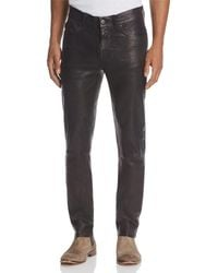 J Brand - Mick Skinny Fit Leather Pants In Washed Black - Lyst