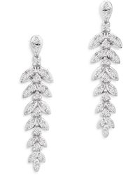 Bloomingdale's Diamond Leaf Drop Earrings In 14k White Gold