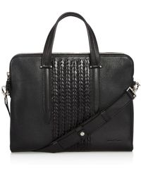 Ferragamo - Firenze Pebbled And Woven Leather Slim Briefcase - Lyst
