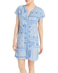 Johnny Was Nico Linen Printed Tunic Dress - Blue